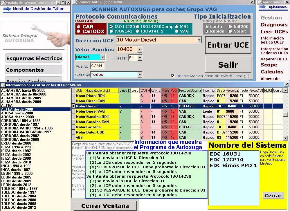 Fallos comunicacion equipos de diagnosis con UCEs