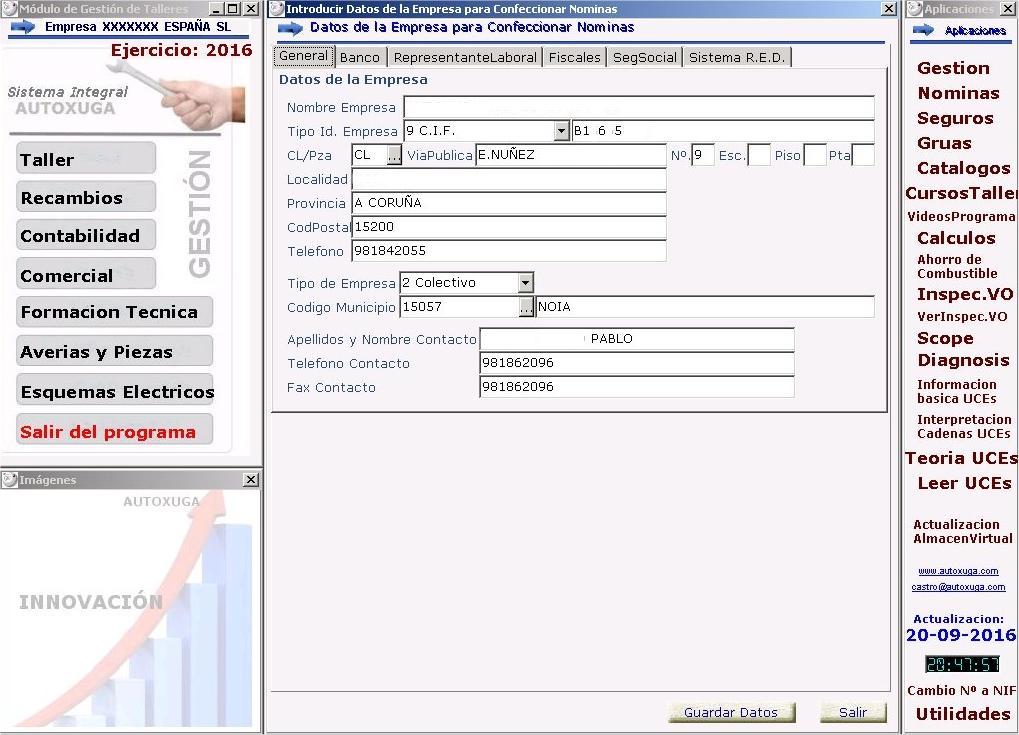 Datos para confeccionar nominas