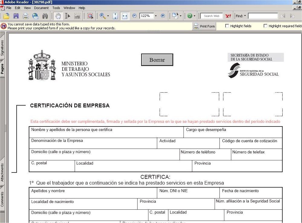 Modelo oficial seguridad social para certificado empresa